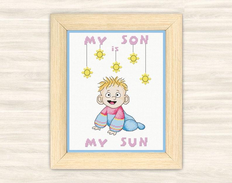 Buy 2 get 1 free Baby boys Cross Stitch Pattern PDF kid announcement baby  gift newborn Little Baby blue birth sign baby metric little man