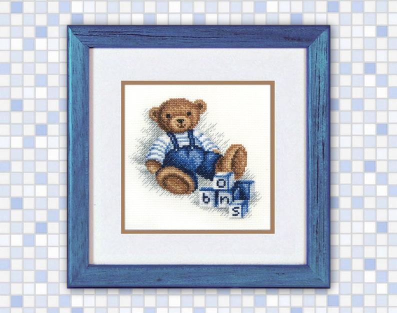 Buy 2 get 1 free Teddy bear Cross Stitch Pattern PDF Baby boys gift dark  blue pattern pattern cross stitch baby boy bear with cubes