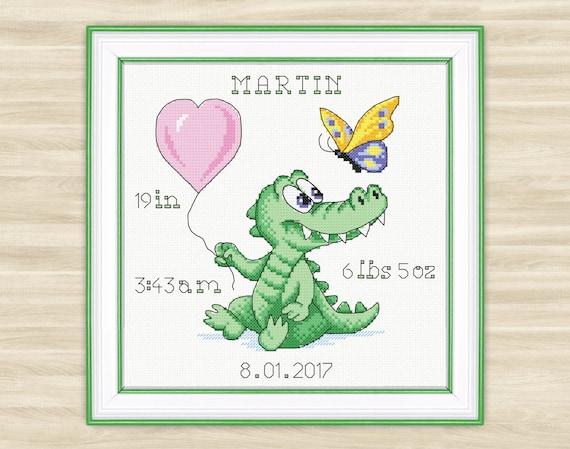 Buy 2 get 1 free Crocodile Personalised Cross Stitch Pattern PDF alligator  baby nursery pattern funny green needlework newborn baby animal