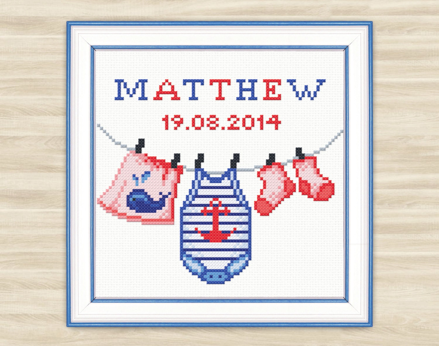 Buy 2 get 1 free Personalised Cross Stitch Pattern PDF birth Baby boy  newborn gift baby pattern announcement nautical clothes baby sea style