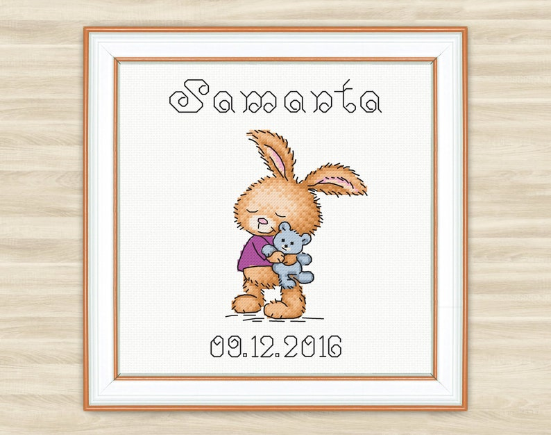 Buy 2 get 1 free Bunny personalised Cross Stitch Pattern PDF announcement  Baby birth sign new baby Welcome baby newborn metric girl boy