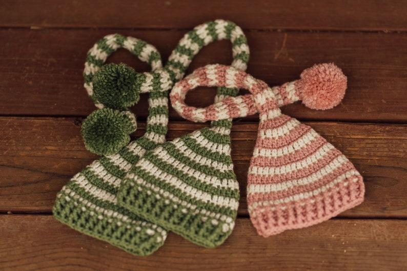 Striped newborn long tail hats
