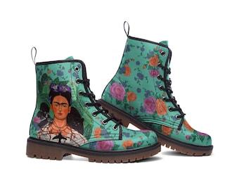 FRIDA | Boots (art, frida kahlo shoes, artwork shoe, floral shoes, custom design art shoes)