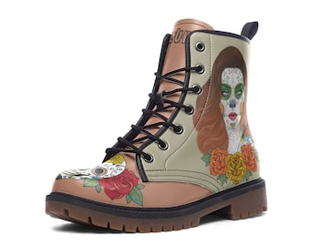 CALAVERA | Boots (sugar skull shoes, day of the dead,mexican illustrations,)