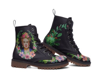 KAHLO | Boots - frida kahlo shoes - custom boots - watercolor paint shoes - frida illustration shoes