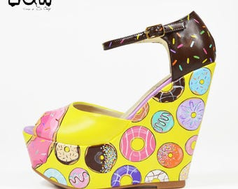 YUMMY - doughnuts shoes, sprinkle, hand painted custom design wedges