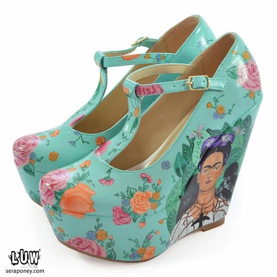 frida kahlo shoes artwork shoe | Etsy