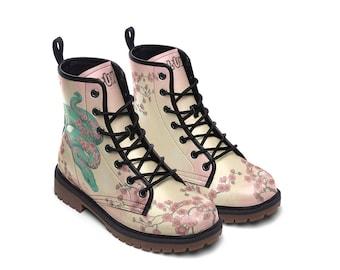 SAKURASNAKE | Boots (cherry blossom, flowers, spring tree, sakura, floral snake, blue snake shoes)