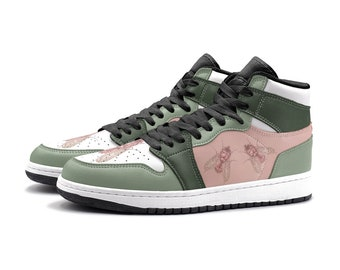DIPTERA | Sneakers (rose gold, pink and green shoes, custom design sneakers)