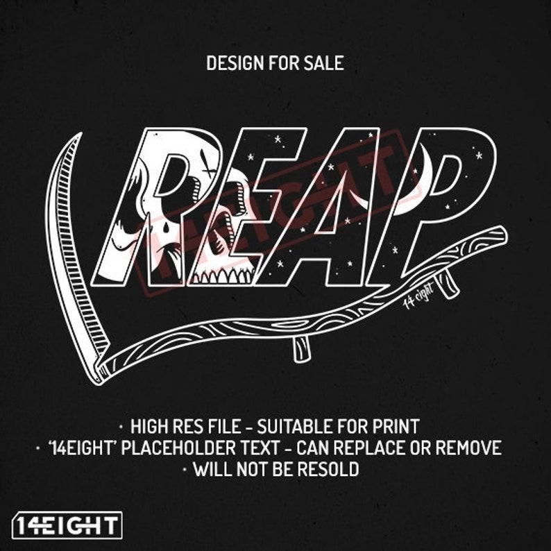 REAP - Original digital artwork for sale / T Shirt design for sale / Band /  Brand / Skull / Grim Reaper / Logo for sale / Merchandise