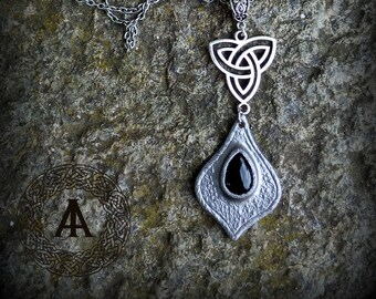 Silver Leather Pendant with Synthetic Black Stone