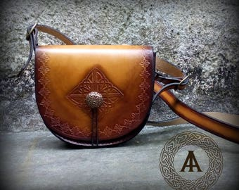 Brown Leather Celtic Shoulder Purse