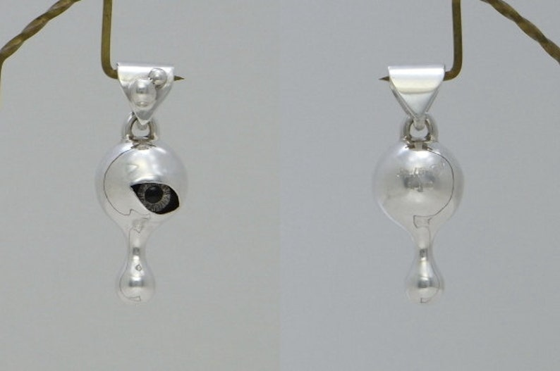 eye pursuit teary drop jewelry necklace pendant sterling silver ball  stare tears pendant 3  s/_m-P.73