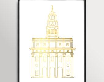 LDS Nauvoo Illinois Temple Gold Foil Print