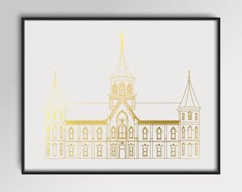 LDS Provo City Center Temple Gold Foil Print
