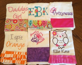 Custom Embroidered Burp Cloths Set of 3