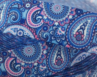 """Pink and blue Paisley Grosgrain Ribbons, paisley ribbons, Available in 5/8"""" or 7/8"""""""