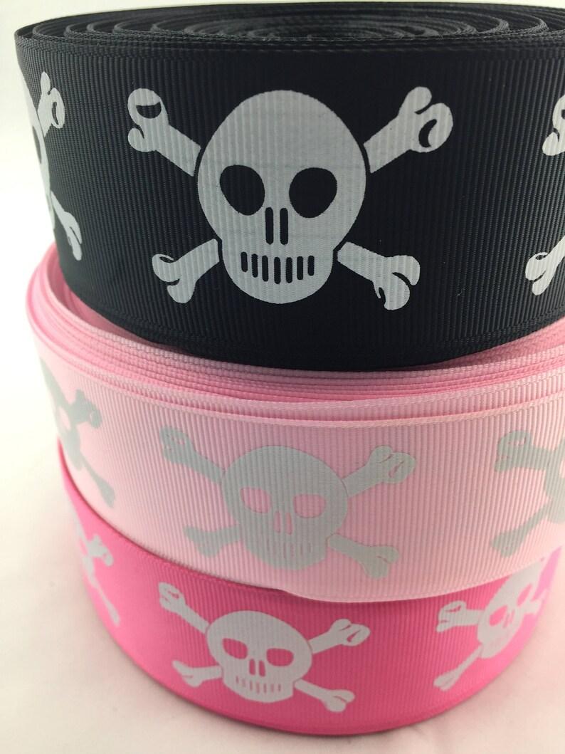 5 Yard 1/'/' Skeleton Printed Grosgrain Ribbon Hair Bow Sewing Ribbon Optional