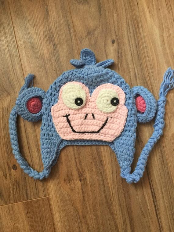 Boots crochet hat, blue crochet monkey hat, crochet monkey hat, blue monkey  hat, boots hat, dora costume, halloween costume