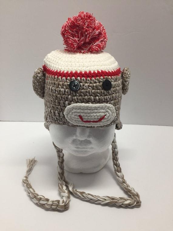 Braunen Affen Häkelmütze Affe-Mütze mit Bommel Affe   Etsy