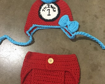 Thing one crochet set, photography prop for babies, thing crochet set, baby thing 1 set