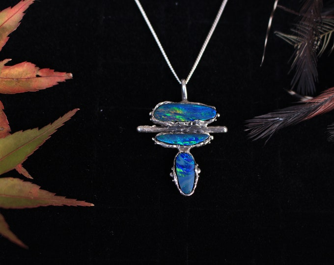Sterling Silver and Australian Opal Pendant.
