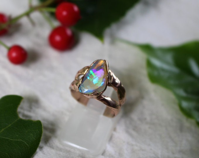 Solid Lightning Ridge Crystal Opal and 9ct Rose Gold Ring