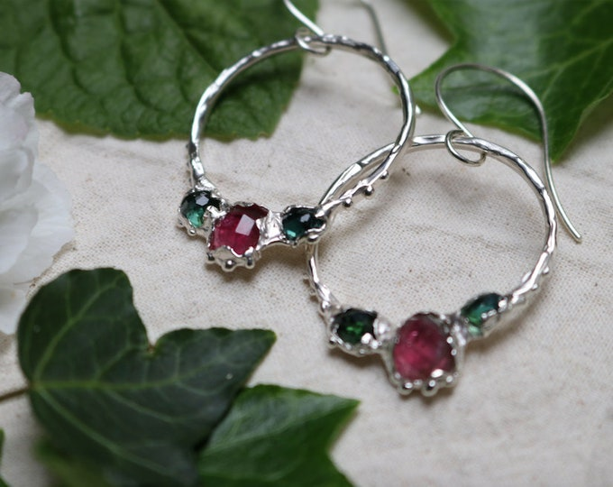 Juicy Watermelon Tourmaline and Sterling Silver Earrings