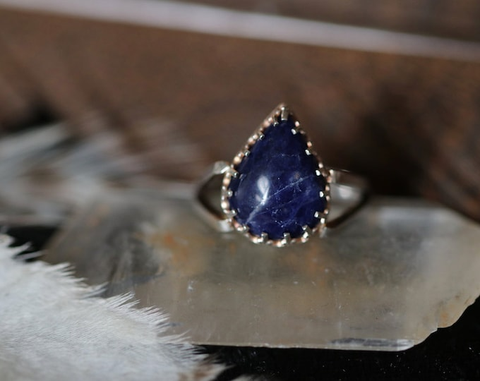 Victorian Style Sodalite and Sterling Silver Ring