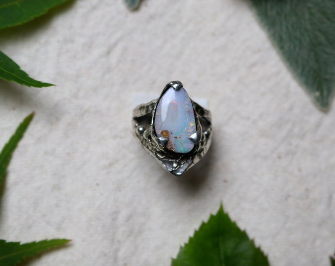 Australian Boulder Opal and Sterling Silver Ring
