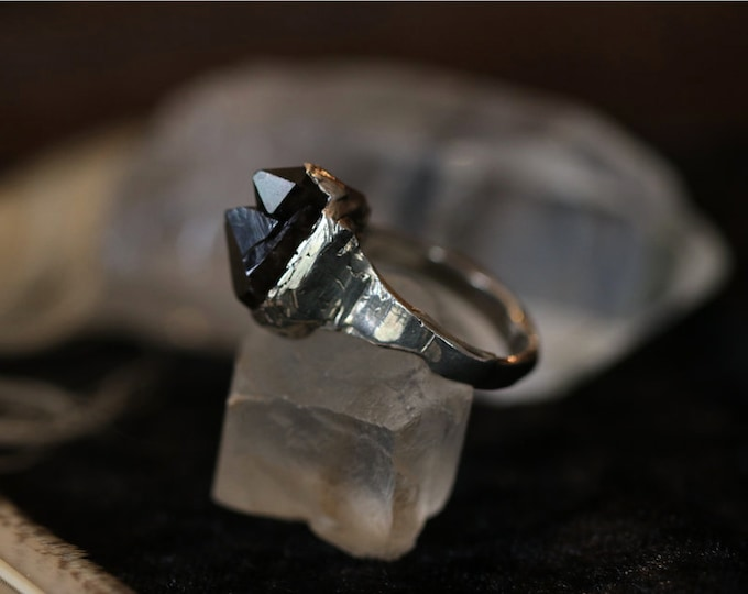 Double Termination Smokey Quartz and Recycled Sterling Silver Ring
