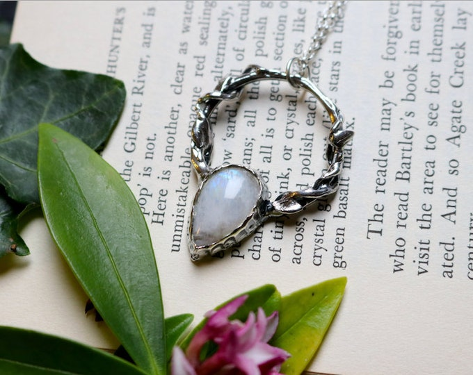 Vine Wrapped Pear Moonstone and Sterling Silver Pendant