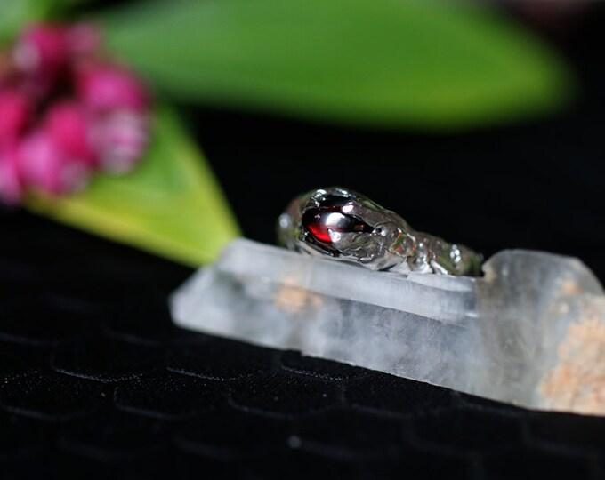 Rough Set Natural Australian Garnet and Sterling Silver Ring