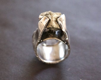 Sterling Silver & Pyrite Cube Statement Ring.