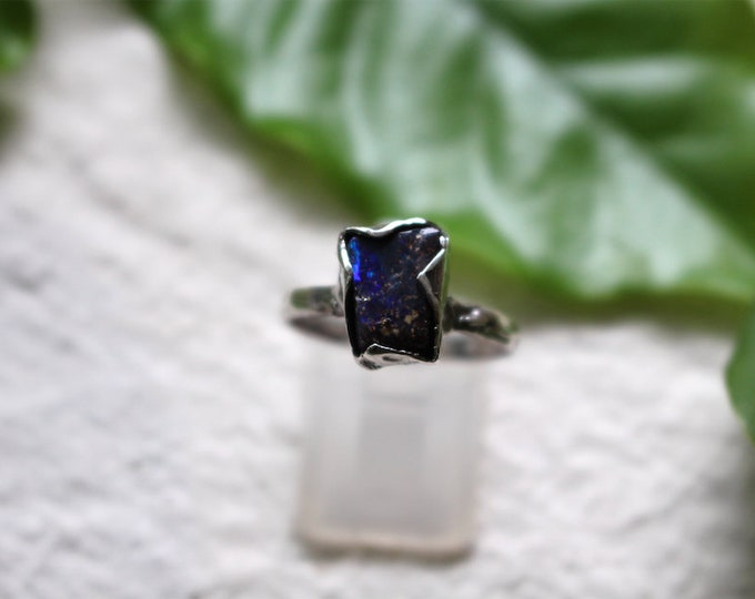 Australian Boulder Opal and Sterling Silver Stack Ring
