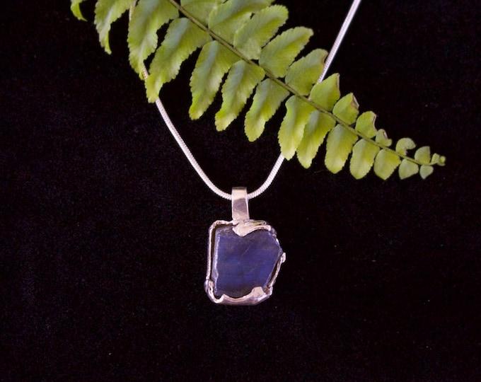 Brilliant Blue Labradotire & Sterling Silver Pendant.