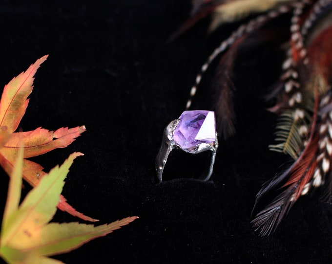 Recycled Sterling Silver and Rough Amethyst Point Ring.
