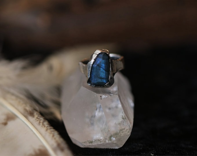 Faceted Blue Labradorite and Sterling Silver Ring.