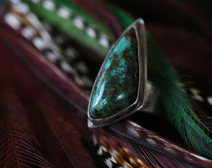 Freeform Australian Chrysocolla and Recycled Sterling Silver Ring