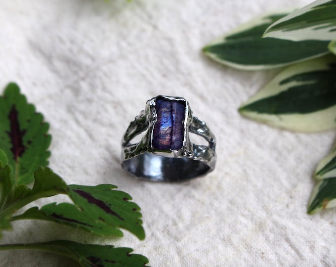 Faceted Purple (dyed) Moonstone and Sterling Silver Ring