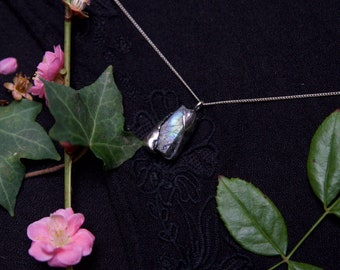 Rough Labradorite and Sterling Silver Pendant.