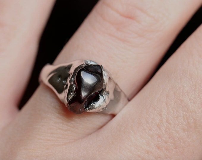 Tumbled Australian Garnet and Sterling Silver Ring