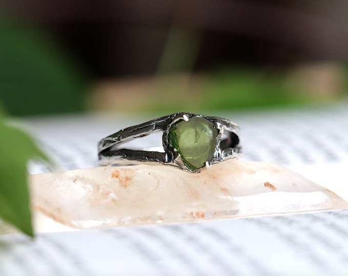 Green Tourmaline Slice and Sterling Silver Mens Ring