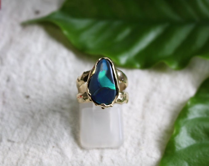 Large Black Opal and 9ct Yellow Gold Ring