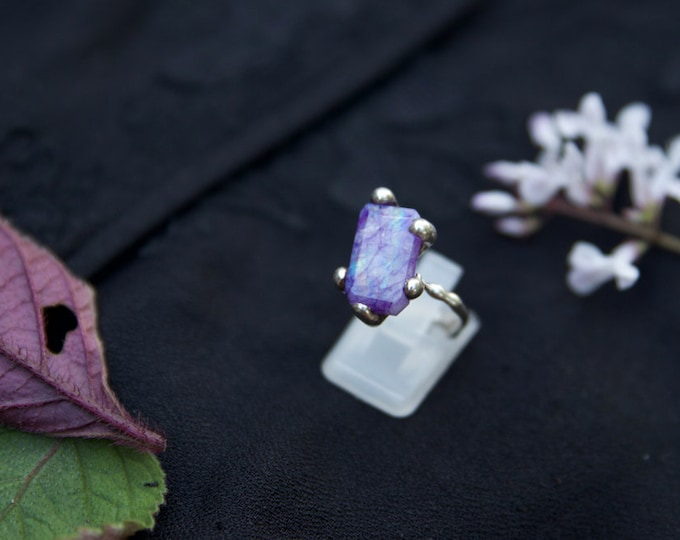 Purple Moonstone and recycled sterling silver ring.