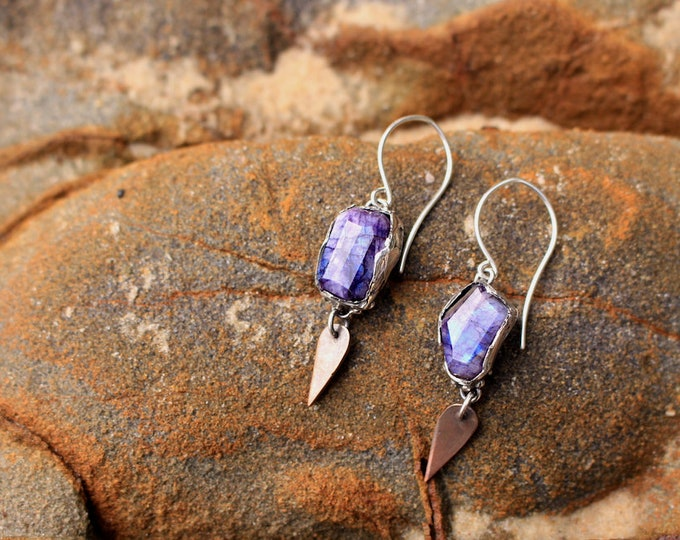 Purple (dyed) Moonstone, Copper and Sterling Silver Earrings