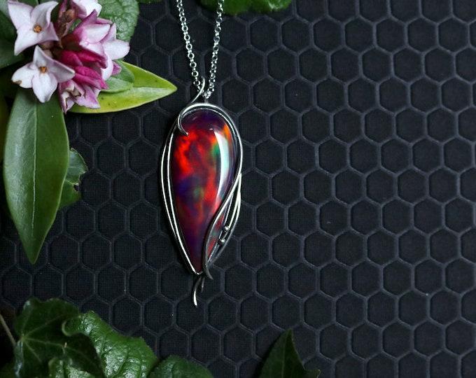 Large Rainbow Aurora Opal Pendant.