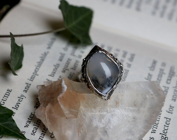Freeform Australian Dendritic Opalite and Sterling Silver Ring