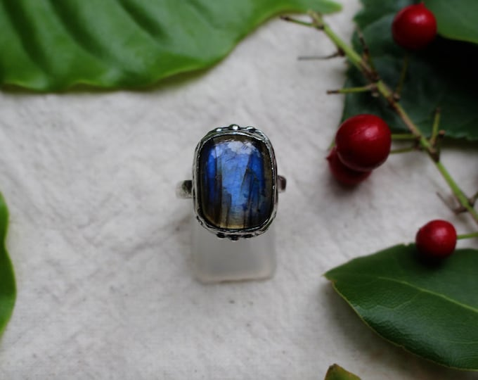 Blue Labradorite and Sterling Silver Ring