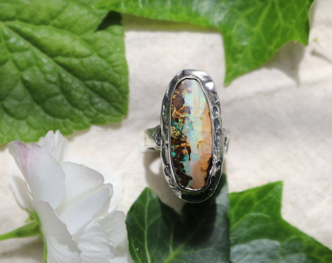 Large Queensland Boulder Opal and Sterling Silver Ring